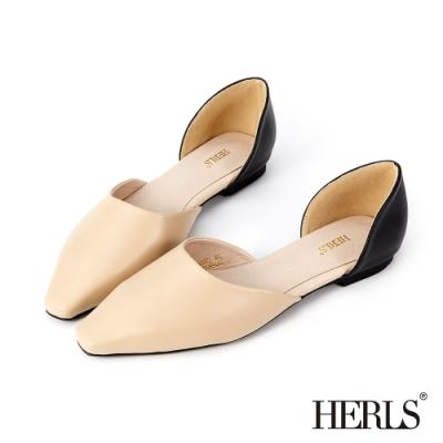 HERLS平底鞋-全真皮側鏤空尖頭平底鞋-杏X黑