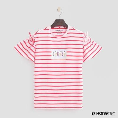 Hang Ten-童裝-條紋創意塗鴉T恤-紅