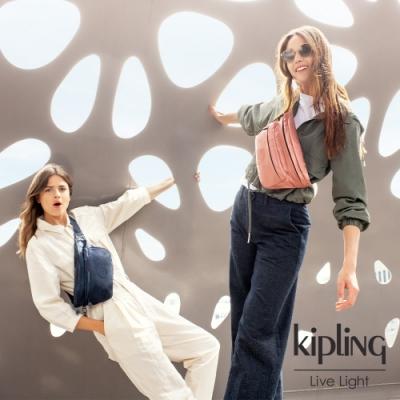 Kipling 光澤迷彩沉穩藍雙拉鍊大容量腰包-YASEMINA XL