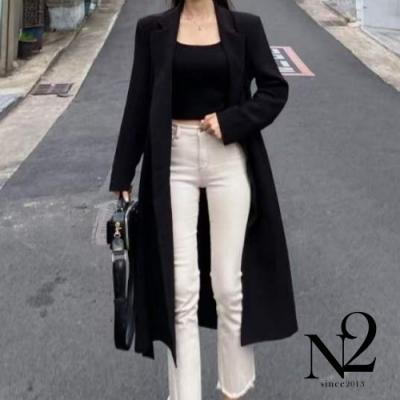 外套 正韓雙排釦綁帶側開衩長版風衣外套(黑色)N2