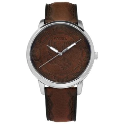 FOSSIL 復古懷舊 皮革雕花 夜光指針 壓紋真皮手錶-咖啡色/44mm
