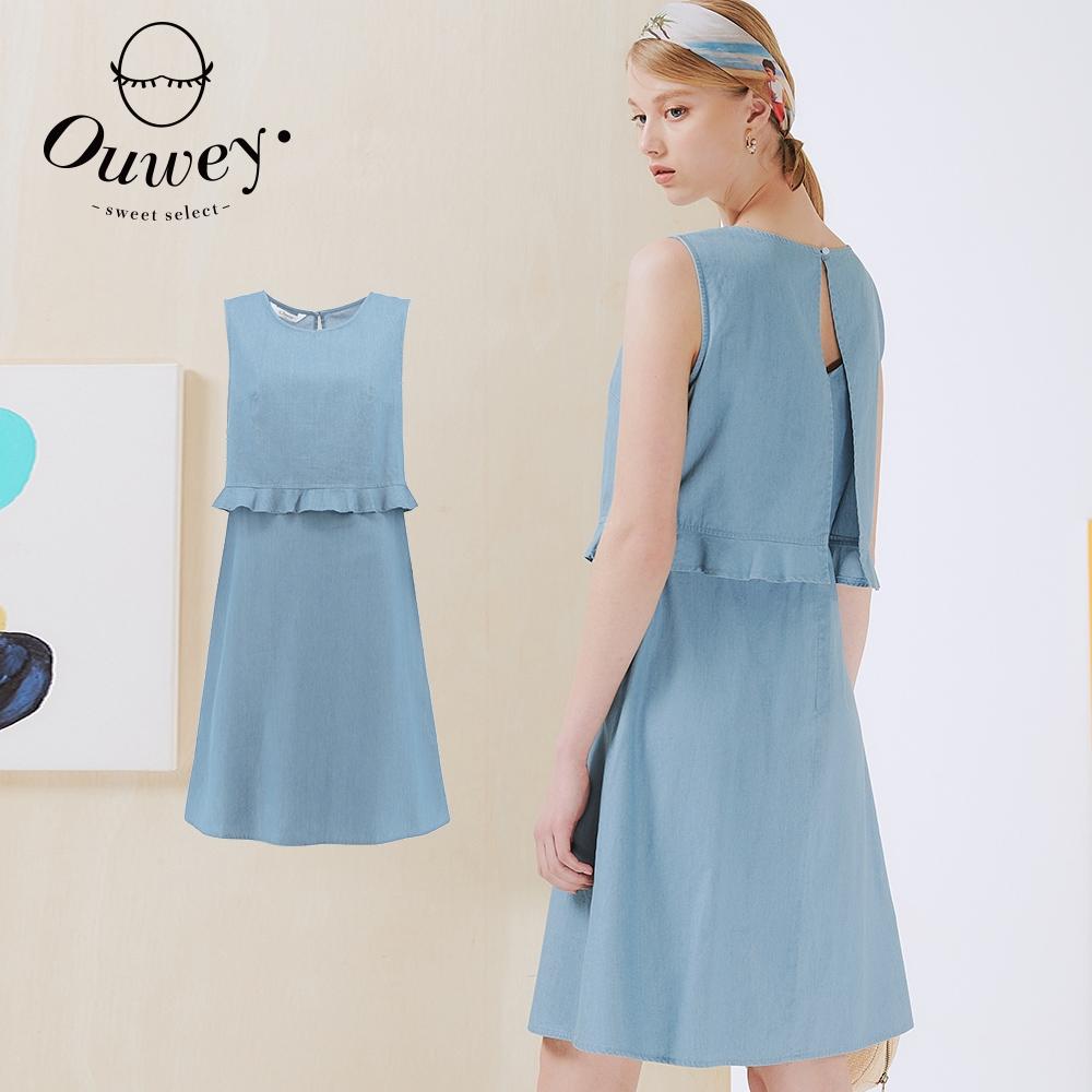OUWEY歐薇 假兩件仿牛仔造型無袖洋裝(淺藍)3212078739