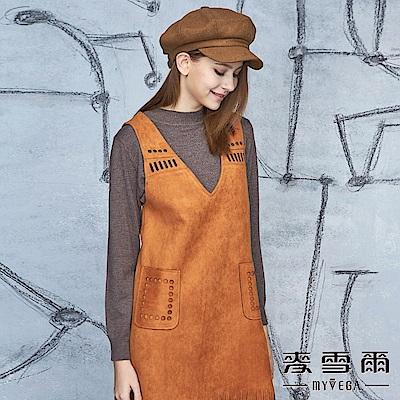 【麥雪爾】羊毛簡約羅纹素面百搭針織-咖啡