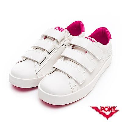 【PONY】TOP STAR時尚百搭魔鬼氈 小白鞋 休閒鞋 女鞋 桃紅色