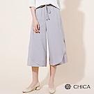 CHICA 空靈典範綁帶拼接雪紡寬褲(2色)