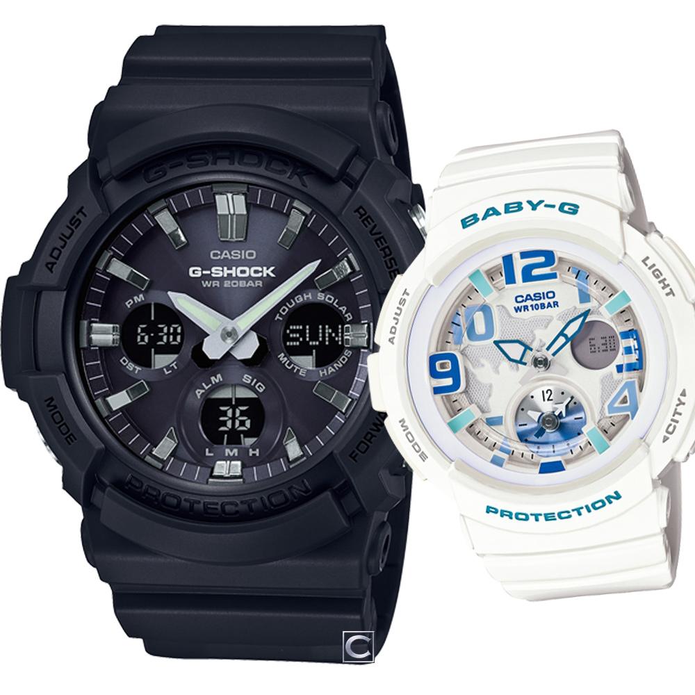 CASIO 星空旅行時尚對錶-52.5+44.3mm @ Y!購物