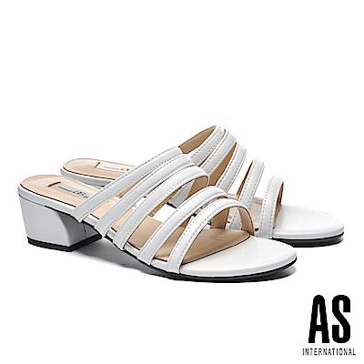 拖鞋 AS 質感純色條帶羊皮一字低跟拖鞋-白
