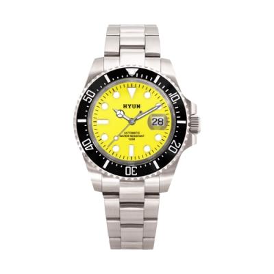 HYUN炫 男士設計精品錶-白鋼黃底
