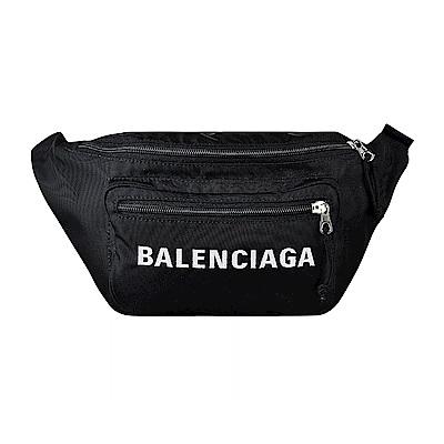 BALENCIAGA巴黎世家WHEEL經典刺繡大LOGO尼龍拉鍊胸腰包(黑)