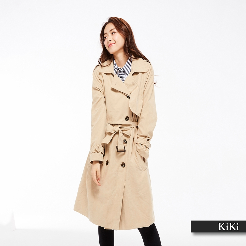 【KiKi 】蜜桃絨繫帶風衣-外套(二色)