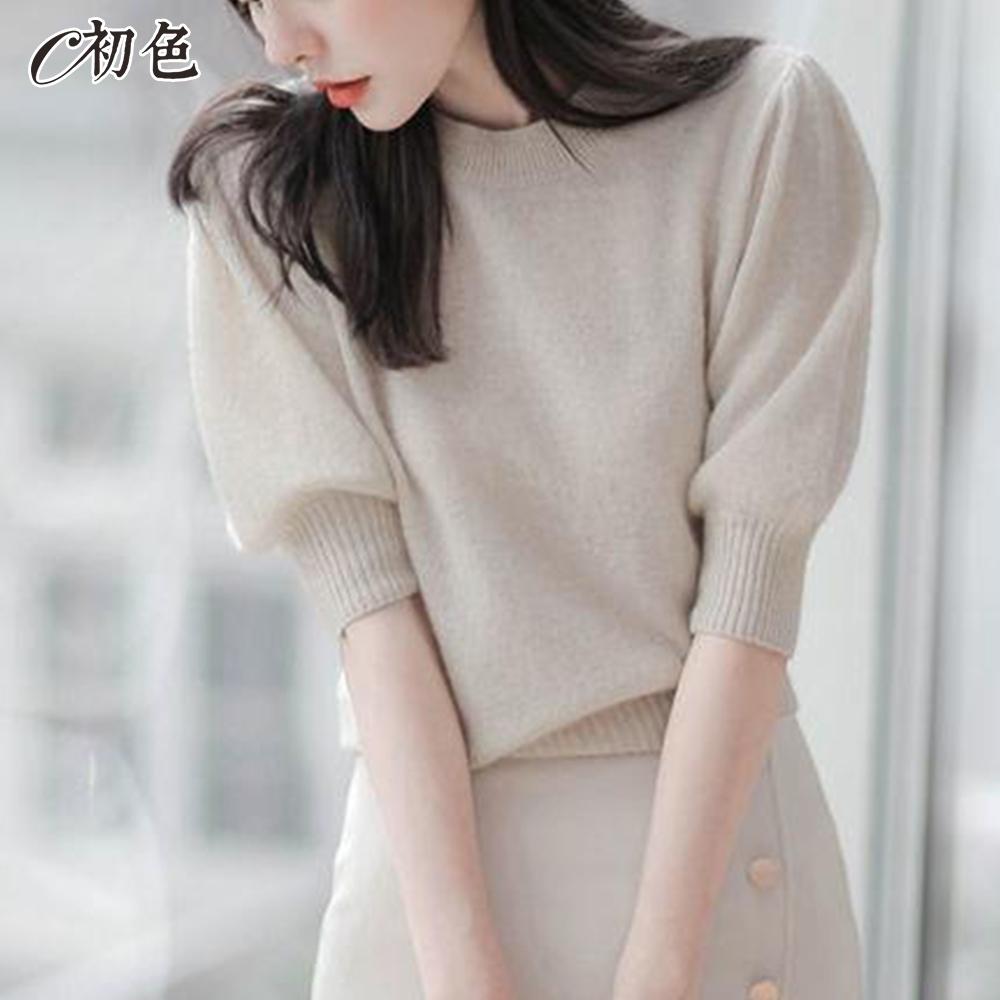 初色  圓領泡泡袖針織衫-共2色-(F可選)