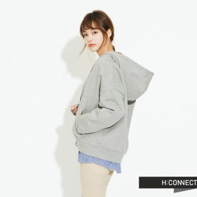 H:CONNECT 韓國品牌 女裝 - 休閒連帽口袋外套 - 灰