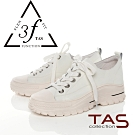 TAS牛皮綁帶厚底休閒鞋-獨特白
