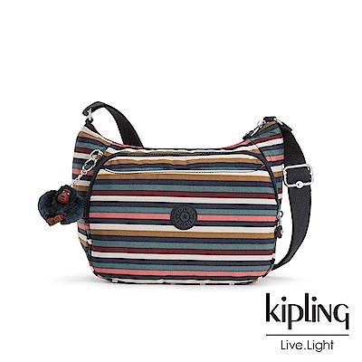 Kipling繽紛仲夏條紋雙層側背包