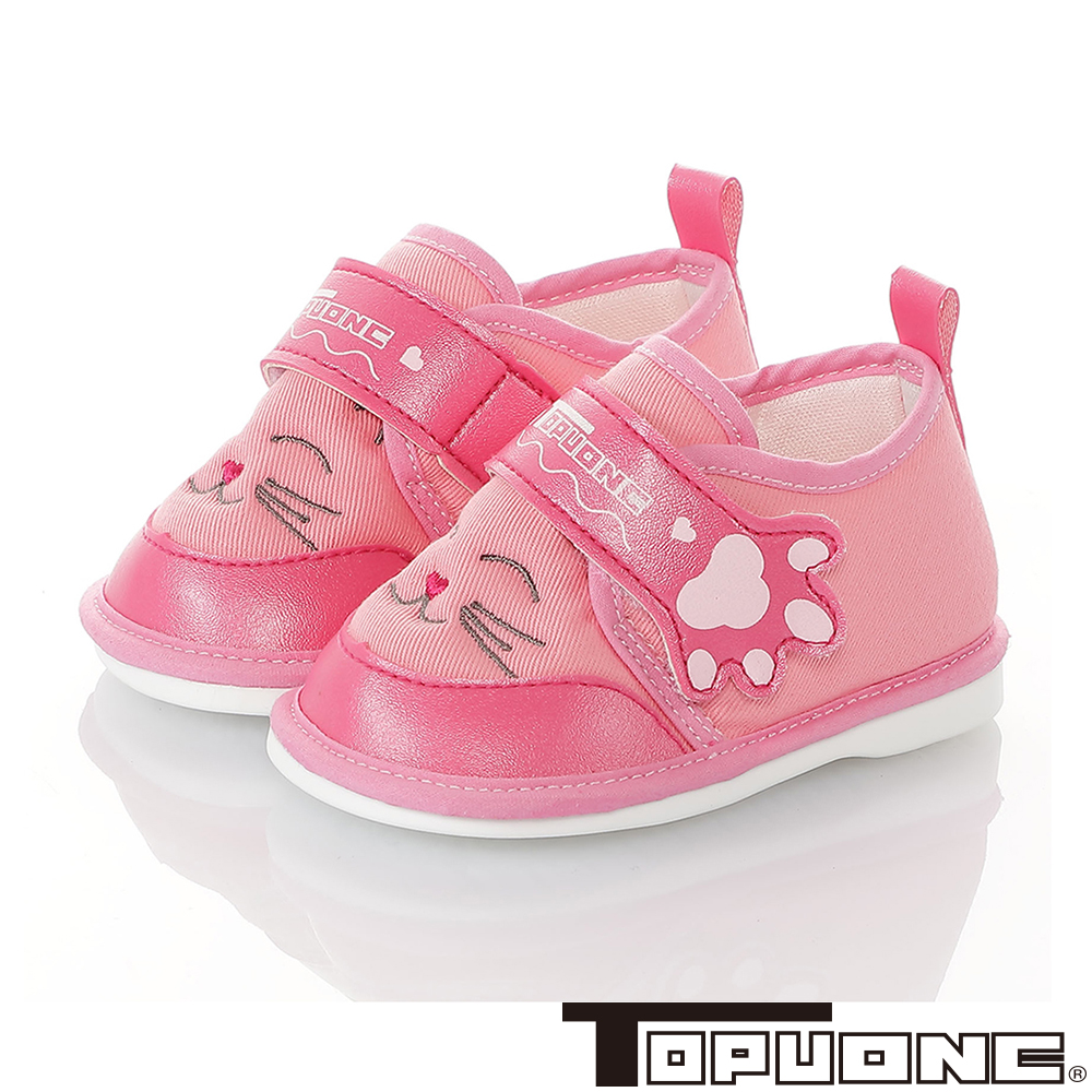 TOPUONE童鞋 輕量減壓寶寶學步嗶嗶鞋-桃