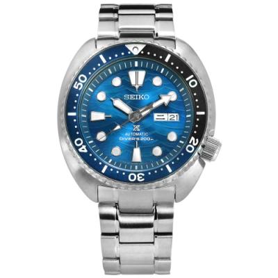 SEIKO 精工 PROSPEX 潛水錶 機械錶 防水200米 不鏽鋼手錶-藍色/45mm
