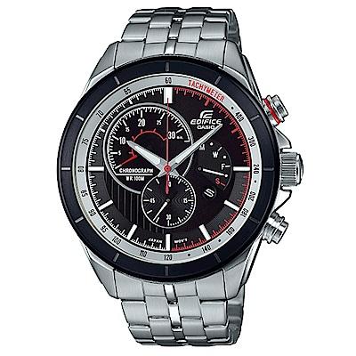EDIFICE急速賽車風格三針三眼計時腕錶(EFR-561DB-1B)紅線圈/46.7mm