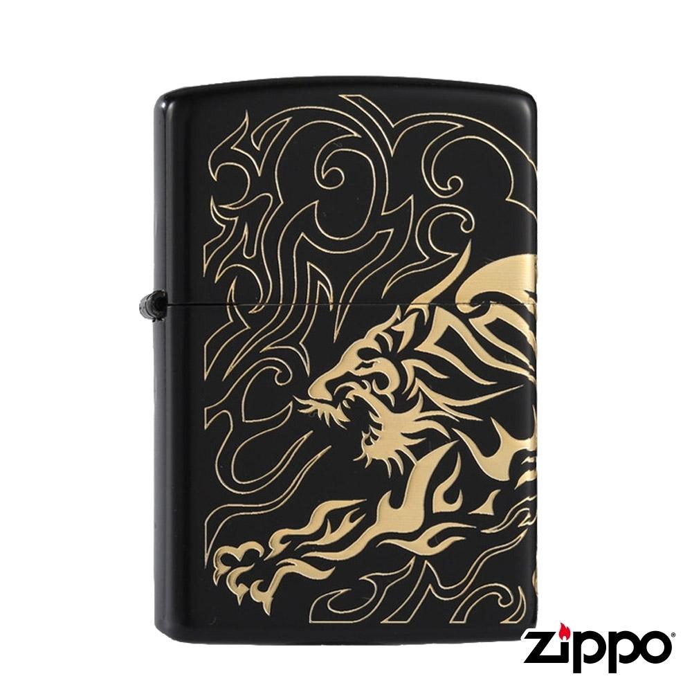 日系Zippo 黑金伏虎之魂-浮雕防風打火機#ZA-5-86a