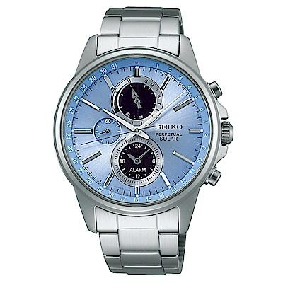 SEIKO SPIRIT簡約率性太陽能計時腕錶/銀x藍/V198-0AC0B