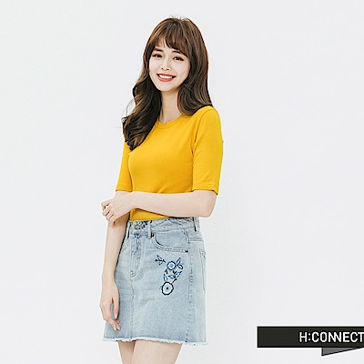 H:CONNECT 韓國品牌 女裝-合身純色圓領t-shirt-黃
