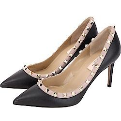 VALENTINO Rockstud 85mm 鉚釘飾拼色牛皮尖頭高跟鞋(黑色)
