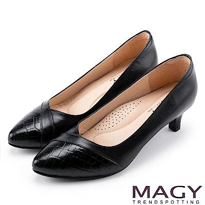 MAGY 氣質首選 羊皮與壓紋牛拼接百搭高跟鞋-黑色