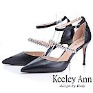 Keeley Ann耀眼新娘 鑽石腳背帶尖頭高跟鞋(黑色-Ann系列)
