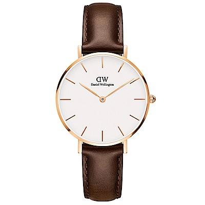 DW手錶 官方旗艦店 32mm玫瑰金框 Classic Petite 深棕真皮皮革 @ Y!購物
