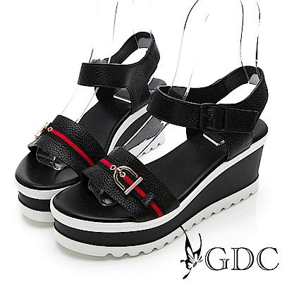 GDC-真皮歐美拼接質感楔型熱賣涼鞋-黑色