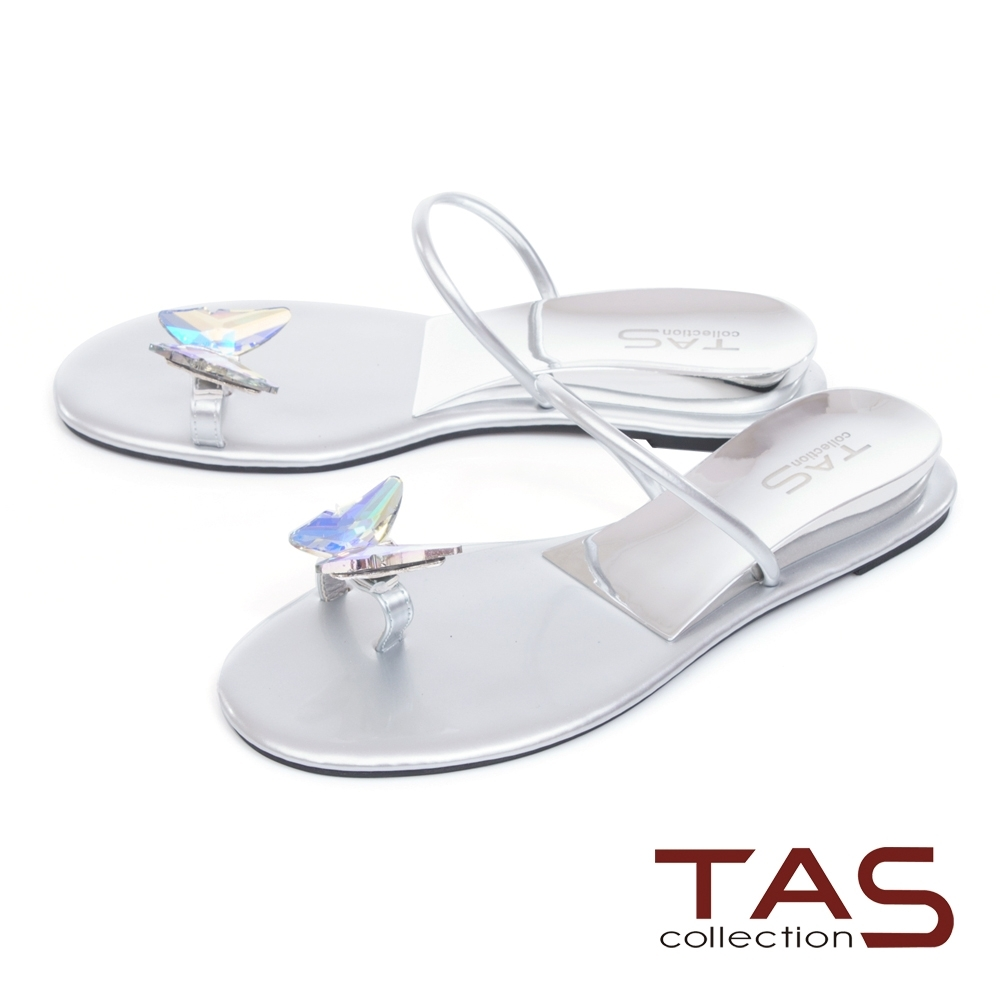 TAS蝴蝶鑽飾穿趾涼拖鞋-亮眼銀