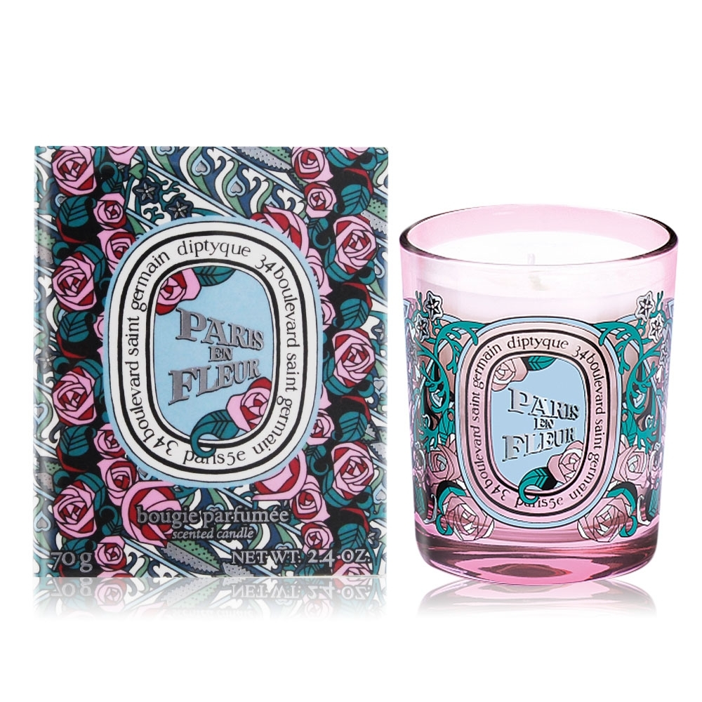 *Diptyque 花樣巴黎迷你香氛蠟燭70g+ 歐沛媞 防煙滅燭罩-情人節限定