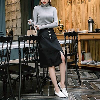 浪漫約會系列~質感排釦高棉A字中長裙-OB大尺碼