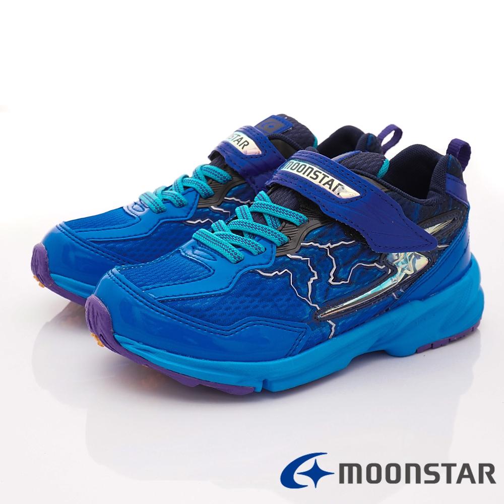 日本月星頂級競速童鞋 閃電3E運動系列 EI615藍(中大童段)