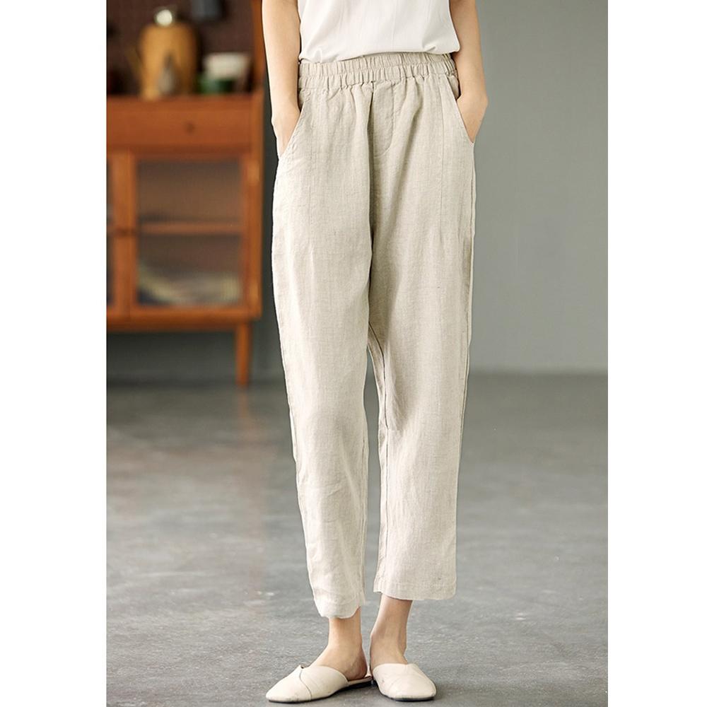 高腰顯瘦亞麻褲內包邊哈倫褲-設計所在 (麻色)