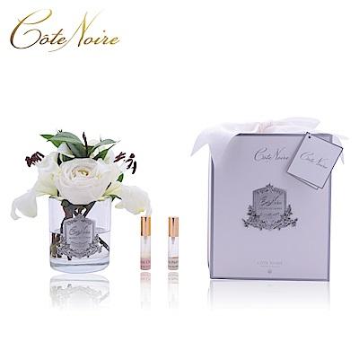 法國 CoteNoire 蔻特蘭 象牙白百合玫瑰香氛花透明瓶