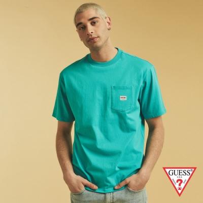GUESS-男裝-ORIGINALS系列簡約素色短T-藍綠 原價1290