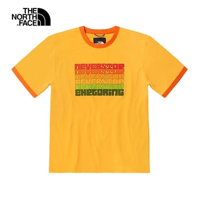 【VANLIFE復古】The North Face北面女款橘黃色胸前品牌標語印花圓領短袖T恤 5JWC70M
