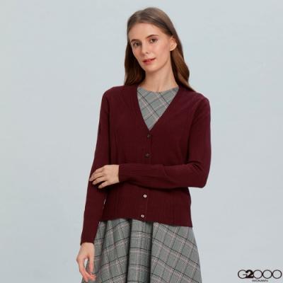 G2000素面長袖針織外套-紫紅色