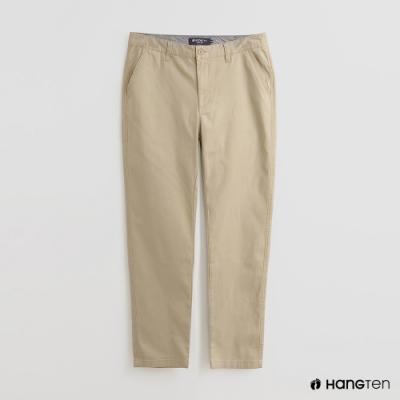 Hang Ten - 男裝 - 簡約修身純色休閒長褲 - 卡其