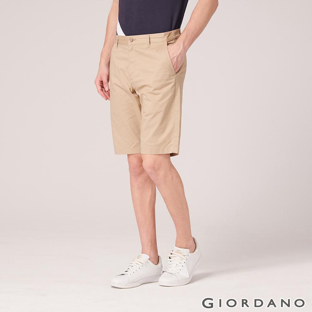 GIORDANO 男裝素色修身百慕達短褲-14 陶器卡其