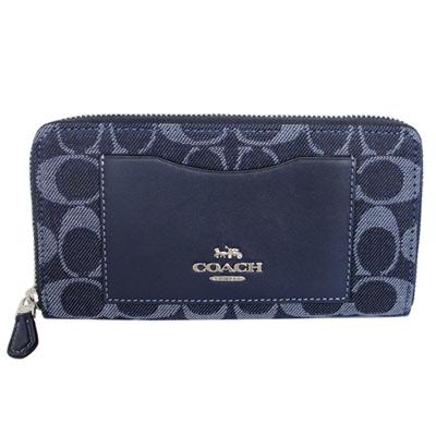 COACH單寧藍C Logo拼接真皮前口袋拉鍊長夾