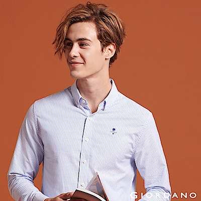 GIORDANO 男裝經典刺繡彈力牛津紡長袖襯衫-64 藍色X白色條紋