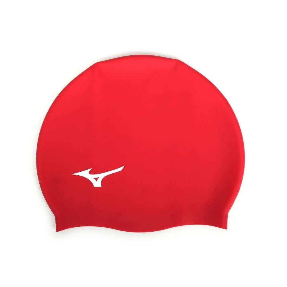 MIZUNO 矽膠泳帽  SWIM 紅白