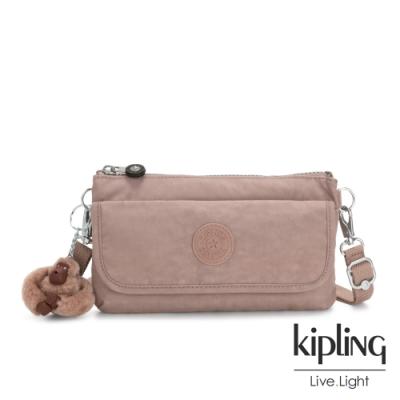 Kipling 復古蜜桃粉色翻蓋肩背側背包-VECKA STRAP