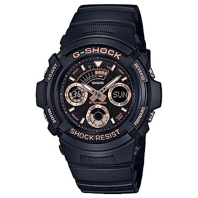 G-SHOCK 極速強悍雙顯錶(AW-591GBX-1A4)-玫瑰金/46.4mm