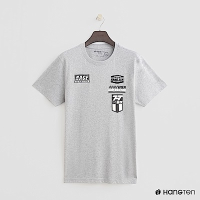 Hang Ten - 男裝 - 有機棉-有機棉-純色賽車logo棉T - 灰