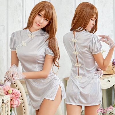 旗袍 銀白柔緞短版復古旗袍角色扮演服二件組(銀白F) Lorraine