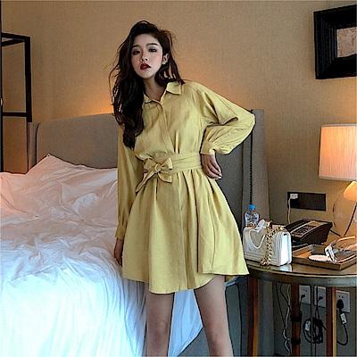 DABI 韓系甜美蝴蝶結系帶襯衫裙長袖洋裝