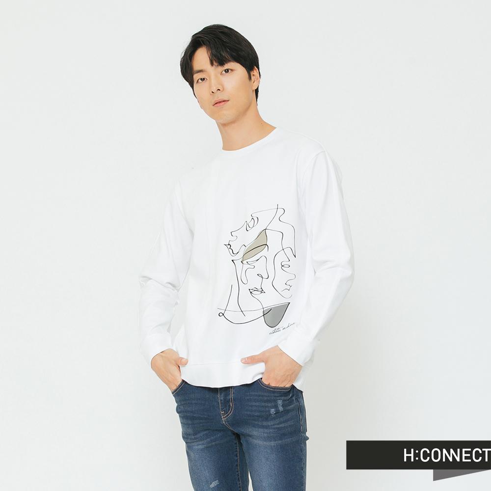 H:CONNECT 韓國品牌 男裝-幾何圖像長袖上衣-白