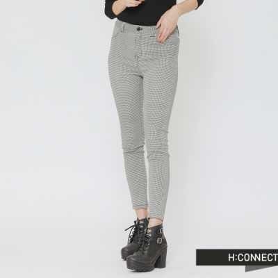 H:CONNECT 韓國品牌 女裝-細格紋口袋造型長褲-灰(快)